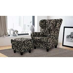 Sessel, Ohrensessel mit Hocker und Zierkissen in braun-beige melierten Strukturstoff mit geflocktem Blumenprint bezogen, Füße schwarz