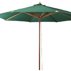 Sonnenschirm Teaklook - Akazie massiv / Webstoff - Grün, Siena Garden