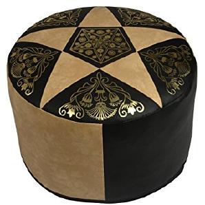 Sitzkissen Orientkissen rund Kunstleder dunkelbraun/hellbeige, B 50 cm, H 34 cm