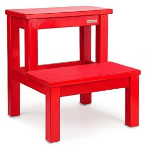 NATUREHOME Tritthocker zweistufig Massivholz Buche Rot lackiert Trittstufe Hocker Schemel Basic