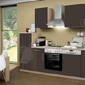 idealShopping Küchenblock mit Geschirrspüler und Chrom Kochmulde Premium 280 cm in lava glänzend