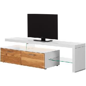 EEK A+, TV-Lowboard Solano I - Mit Beleuchtung - Asteiche / Weiß - Mit TV-Bank rechts, Netfurn by GWINNER