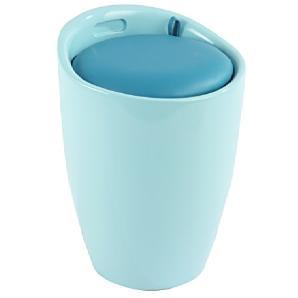 Wenko 21952100 Badhocker Candy mit abnehmbarem Wäschesack, Fassungsvermögen 20 L, Acrylnitril-Butadien-Styrol, Kunststoff, Eisblau, 36 x 36 x 50,5 cm