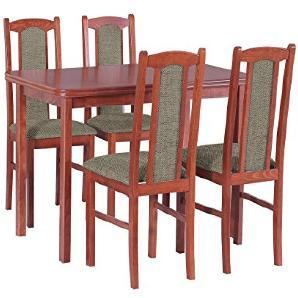 Essgruppe mit 4 Stühlen DM-25, Esstisch + Stuhlset, Tischgruppe, Esstischgruppe, Sitzgruppe, Esszimmergarnitur, Esszimmer Set (Kirsche + Inari 23)