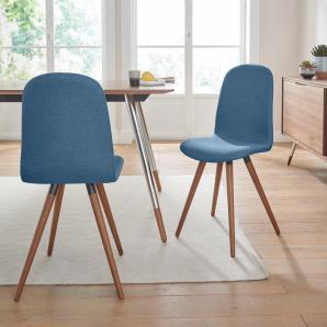 andas Stühle in walnut oder white oak Massivholz, blau, ocean blue »stick classic«