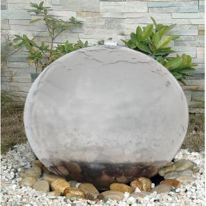 EEK A+, LED-Außen-Brunnen Ø40cm 4-flammig - Silber Kunststoff, Näve