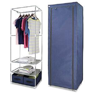 Finether Faltschrank Stoffschrank Textilschrank Faltkleiderschrank Stoffkleiderschrank Textilkleiderschrank stabil Kleiderschrank aus stoff mit Kleiderstange für Schlafzimmer Camping