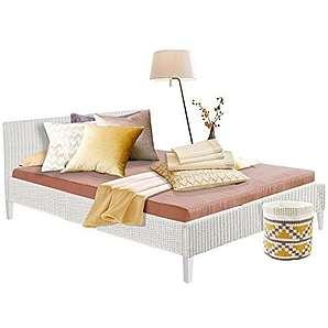 Bett JULIA aus Rattan für Schlafzimmer (180, weiß)