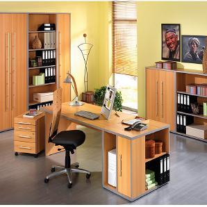 Büro-Set Kirk (9-teilig) - Buche Dekor, Wellemöbel