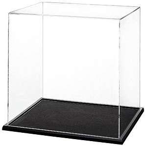 200mm Cube Plexiglas Vitrine mit einer schwarzen Holzsockel