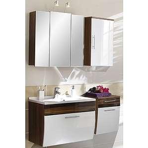 4tlg Badezimmer Hochglanz weiß - Walnuss Softclose Spiegelschrank Badmöbel