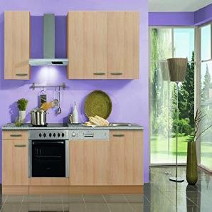 Küchenblock mit Geschirrspüler und Glaskeramikkochfeld Klassik 210 cm in Buche Nachbildung