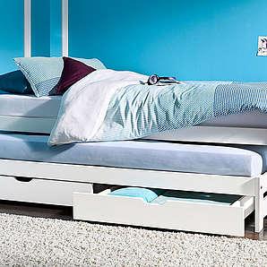 Funktionsbett mit 2. Schlafgelegenheit  weiß