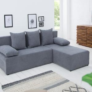 Design Ecksofa CUBUS Soft Baumwolle grau mit Schlaffunktion und Bettkasten