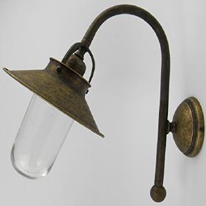 Wandlampe Messing brüniert Glas Außenlampe Außenwandleuchte ANITK Landhaus Stil