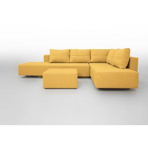 Gemini A Ecksofa Schlafsofa Doppelbett, Webstoff. Gelb. Verwandlungssofa mit Liegeflächen 200x160cm oder 2 x 200x80cm, Hocker 80x80cm