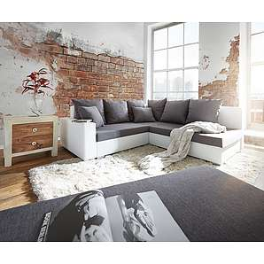 Ecksofa Lavello 210x210 cm Weiss Grau Sofa mit Hocker, Ecksofas
