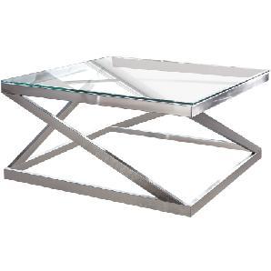 Couchtisch Sawl - Metall / Glas - Silber, Fredriks