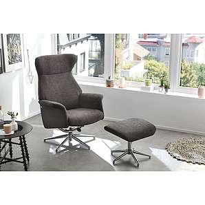 Relax Sessel in grauem Kunstleder und grauem Mikrofaserstoff, inkl. Hocker, Gestell verchromt, drehbar, Sessel Maß: B/H/T ca. 76/107/70 cm
