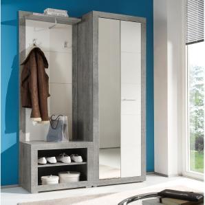 Garderobenset Rognan (3-teilig) - Weiß / Beton Dekor, Fredriks