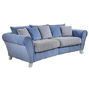 Cavadore Big Sofa Calianne / Große Couch inkl. Kissen im modernen Design mit weißen Holzfüßen / Größe: 257 x 87 x 120 cm (B x H x T) / Materialmix blau - weiß
