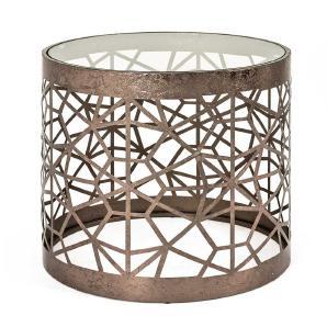 Glas Beistelltisch in Bronzefarben rund