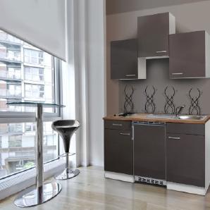 respekta Single Küche Küchenzeile Küchenblock 150 cm weiß grau mit APL Butcher Nussbaum Ceran KB150WGC