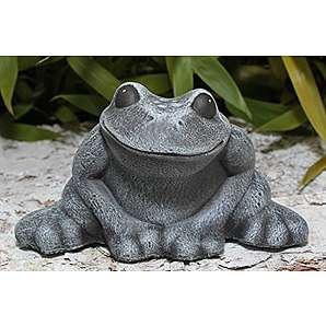 Deko-figur Frosch sitzend klein in Schiefergrau, Stein-figur für Haus und Garten