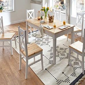 Essgruppe Essecke weiß Landhaus Bali Esstisch mit 6 Stühlen Kieferholz Pinie Massivholz