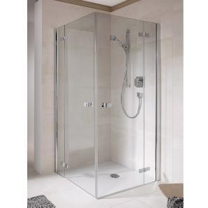 Eckeinstieg Halbtür S500 Plus Echtglas Rechts 100 cm x 200 cm Silber Poliert