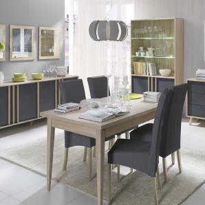 Esszimmer Komplett - Set B Marousi, 7-teilig, Farbe: Eiche Sonoma / Beton Grau