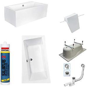 EXCLUSIVE LINE® Rechteck/Eck Badewanne INFINITY 170x110 cm Links mit Schürze + Füßen, Ablaufgarnitur, Silikon GRATIS