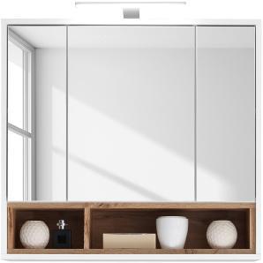 EEK A+, Spiegelschrank Guardo (inkl. Beleuchtung) - Weiß / Wildeiche Dekor, Fredriks