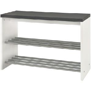 Garderobenbank Plitka - Granit Dekor / Weiß, Home Design