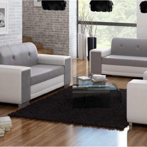 JUSTyou BAVERO 3+2+1 Wohnzimmerset Wohnzimmer Komplett Weiß Grau