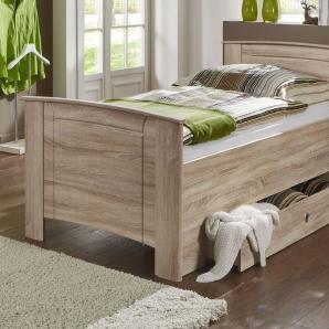 Seniorenbett in Eiche Dekor 90x200 cm ohne Schubkasten - Carpina