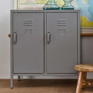 Spindschrank in Grau Metall