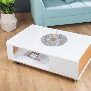 Design Couchtisch CORIN edelmatt weiß 110 cm Asteiche mit Schublade und Rollen