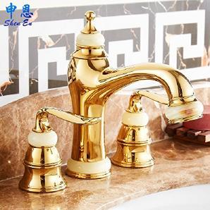 Continental TougMoo Three Hole Waschtischmischer Kupfer, Gold, Jade Becken  Mit Heißem Und Kaltem Fließendem Wasser Rose Gold, Gold