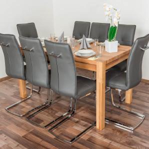 Wooden Nature Esstisch-Set 323 inkl. 8 Stühle (grau), Buche Massivholz - 160 x 90 (L x B)
