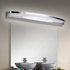 WGE Spiegelfront Lampe Badezimmer Badezimmer Edelstahl Anti-Fog Feuchtigkeit Make-Up Lampe Wandleuchte , White Light , 57Cm