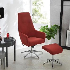 Relax Sessel in rotem Webstoff (masala-farbig) bezogen inkl.Hocker, Gestell verchromt, drehbar, höhenverstellbar, Sessel Maß: B/H/T ca. 74/113/70 cm