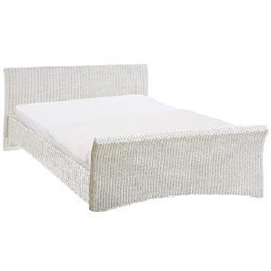 Bett NINA in 140 cm order 180 cm aus Rattan für Schlafzimmer (180, weiß)