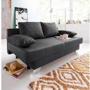 Schlafsofa grau, FSC®-zertifiziert, inklusive loser Zier- und Rückenkissen, Places of Style