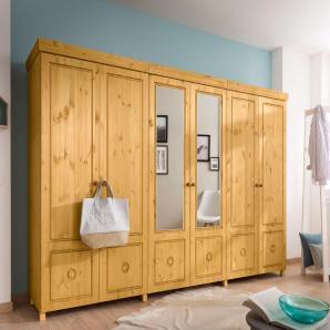 Home affaire Drehtürenschrank beige, 6-türig: 282 cm, gelaugt/geölt, », als 2-, 3-, 4-, 5- oder 6-türig, teilweise mit Spiegel«, FSC®-zertifiziert