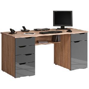 Computertisch Scarlett - Eiche Sonoma/Hochglanz Grau, Maja Möbel