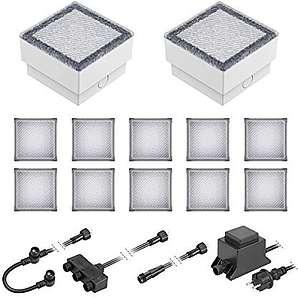 ledscom LED Pflaster-Stein Gorgon Boden-Einbauleuchte für außen, 10x10cm, 12V, warm-weiß 12er Set