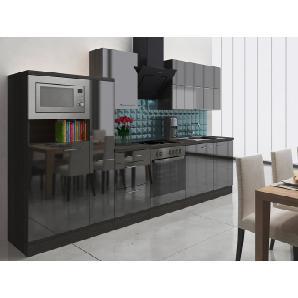Respekta Premium Küchenzeile RP310ESCMIS 310 cm Schwarz-Eiche Grau Nachbildung