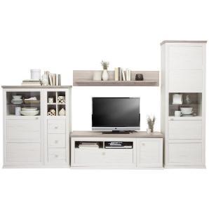 HOM`IN: Wohnwand, Glas, Holzwerkstoff, Grau, Weiß, B/H/T 329,4 209,2 50