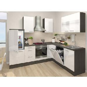 Respekta Premium Winkelküche RP260EWCOS 260 x 200 cm Weiß-Eiche Grau Nachbildung